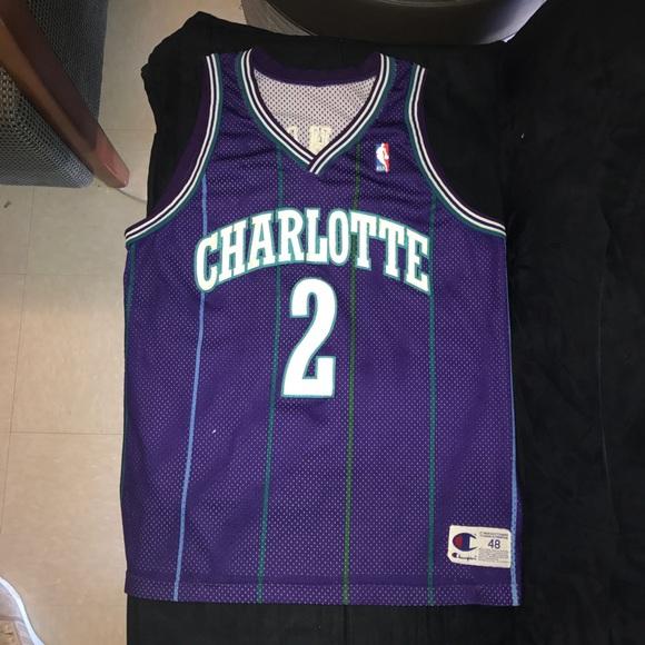 91084c9fe40 Champion Shirts | Vintage Larry Johnson Charlotte Hornets Jersey ...